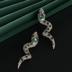2/$20! Silver/Emerald Green Crystal Snake Earrings
